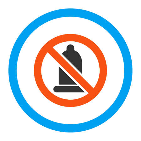 condoms: Forbidden Condom vector icon. Style is flat rounded symbol, bright colors, rounded angles, white background.