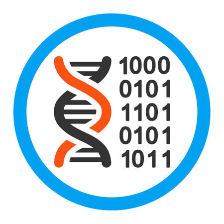 genetic: Genetic Code vector icon. Style is flat rounded symbol, bright colors, rounded angles, white background.