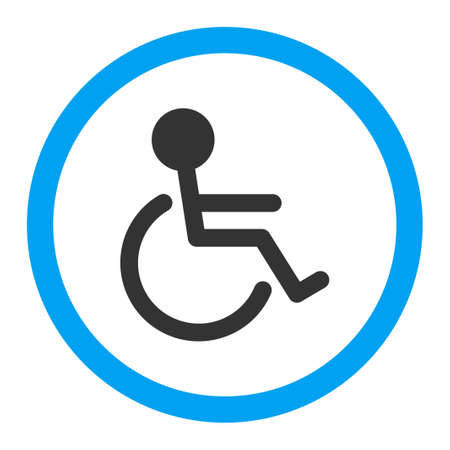 paralyze: Handicapped vector icon. Style is flat rounded symbol, bright colors, rounded angles, white background.