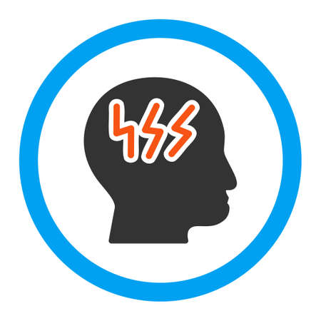 Headache vector icon. Style is flat rounded symbol, bright colors, rounded angles, white background.