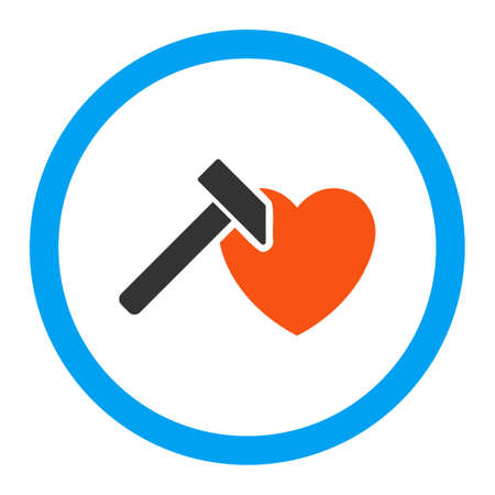 hummer: Heart Hammer vector icon. Style is flat rounded symbol, bright colors, rounded angles, white background. Illustration