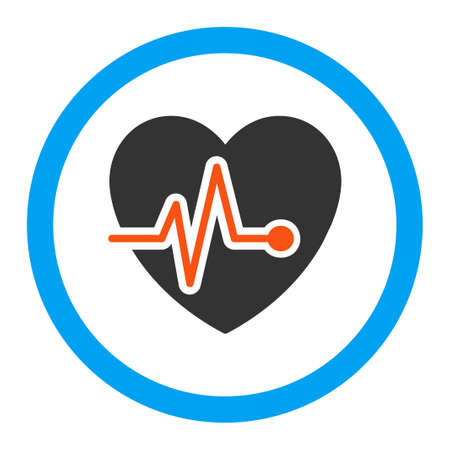 electrocardiograph: Heart Pulse vector icon. Style is flat rounded symbol, bright colors, rounded angles, white background.