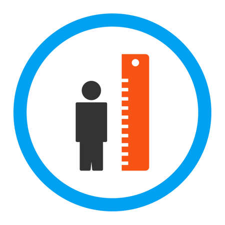tall man: Height Meter vector icon. Style is flat rounded symbol, bright colors, rounded angles, white background.