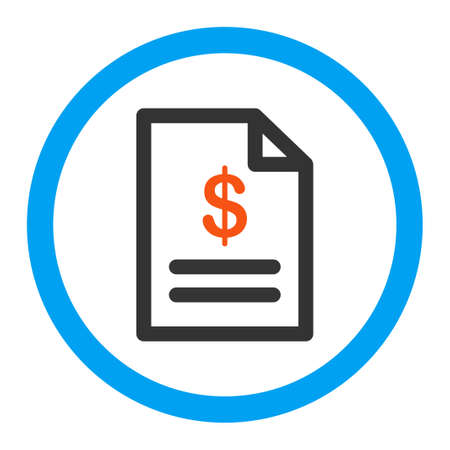 indent: Invoice vector icon. Style is flat rounded symbol, bright colors, rounded angles, white background. Illustration