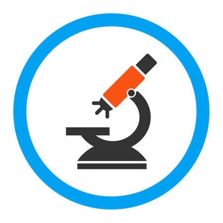 microscope lens: Labs Microscope vector icon. Style is flat rounded symbol, bright colors, rounded angles, white background.