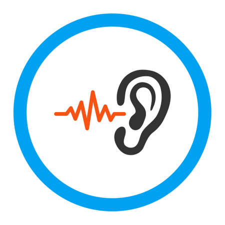 hearing: Listen vector icon. Style is flat rounded symbol, bright colors, rounded angles, white background.