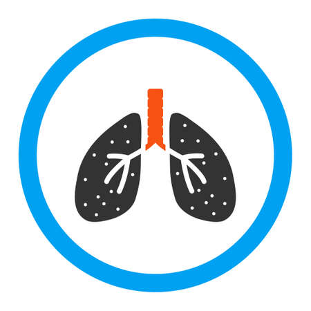 autopsy: Lungs vector icon. Style is flat rounded symbol, bright colors, rounded angles, white background.