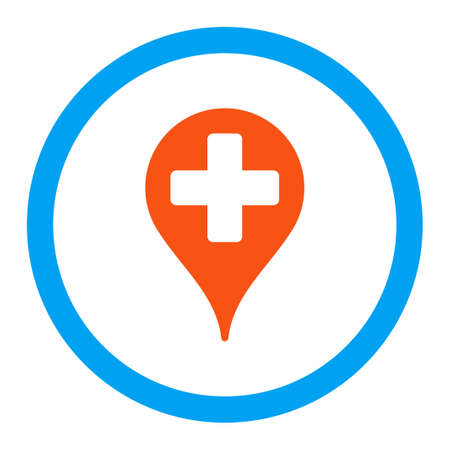 map marker: Medical Map Marker vector icon. Style is flat rounded symbol, bright colors, rounded angles, white background.