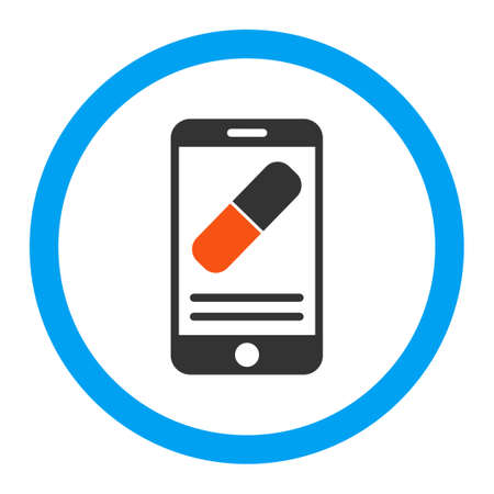 medication: Medication Online Information vector icon. Style is flat rounded symbol, bright colors, rounded angles, white background. Illustration