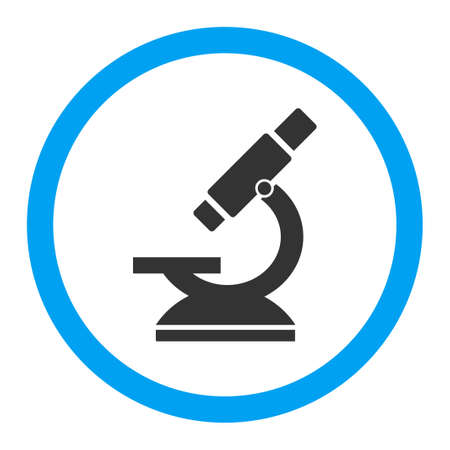 Microscope vector icon. Style is flat rounded symbol, bright colors, rounded angles, white background.