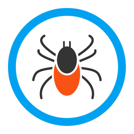 encephalitis: Mite vector icon. Style is flat rounded symbol, bright colors, rounded angles, white background. Illustration