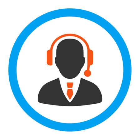 conference call: Operator vector icon. Style is flat rounded symbol, bright colors, rounded angles, white background.