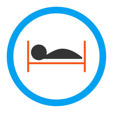 Paciente icono Cama vectorial. El estilo es el símbolo plana redondeada, colores brillantes, ángulos redondeados, fondo blanco. Ilustración de vector