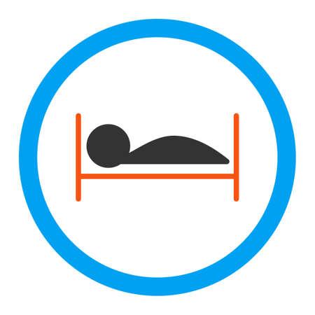 letti: Paziente icona letto vettore. Lo stile è piatta simbolo arrotondato, colori vivaci, angoli arrotondati, sfondo bianco. Vettoriali
