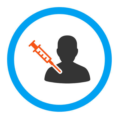 vaccination: Patient Vaccination vector icon. Style is flat rounded symbol, bright colors, rounded angles, white background.