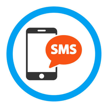 short message service: Phone Sms vector icon. Style is flat rounded symbol, bright colors, rounded angles, white background.