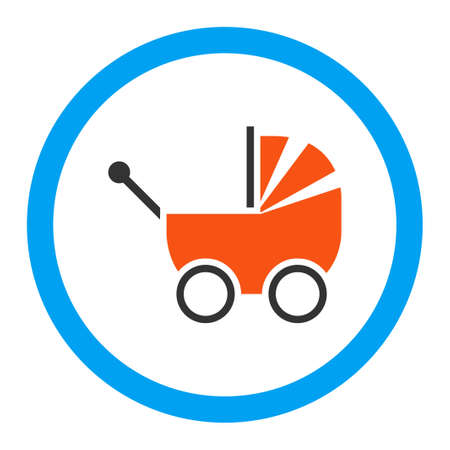 waggon: Pram vector icon. Style is flat rounded symbol, bright colors, rounded angles, white background.