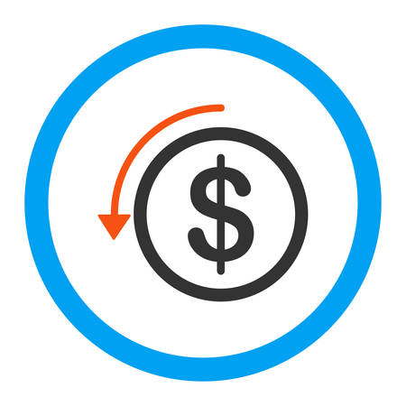 refund: Refund vector icon. Style is flat rounded symbol, bright colors, rounded angles, white background.