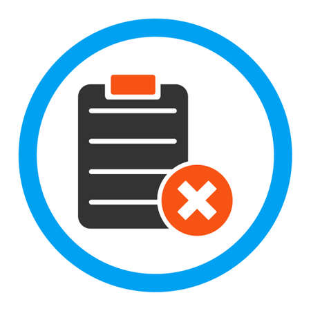 item list: Reject Form vector icon. Style is flat rounded symbol, bright colors, rounded angles, white background. Illustration