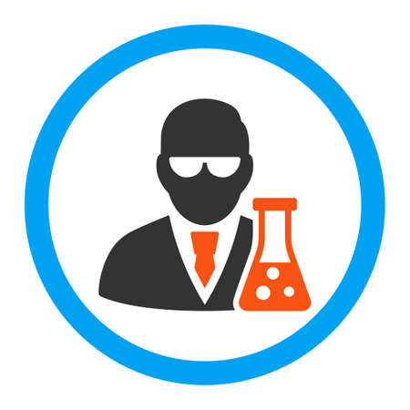 a solution tube: Scientist With Flask vector icon. Style is flat rounded symbol, bright colors, rounded angles, white background.