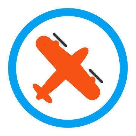 usaf: Screw Aeroplane vector icon. Style is flat rounded symbol, bright colors, rounded angles, white background.