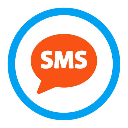 short message service: Sms vector icon. Style is flat rounded symbol, bright colors, rounded angles, white background.