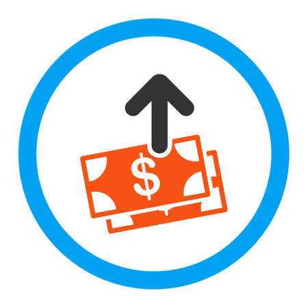 spend: Spend Money vector icon. Style is flat rounded symbol, bright colors, rounded angles, white background.