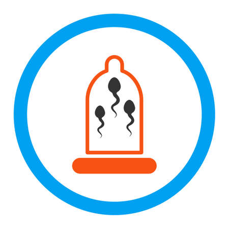 safe sex: Sperm In Condom vector icon. Style is flat rounded symbol, bright colors, rounded angles, white background. Illustration