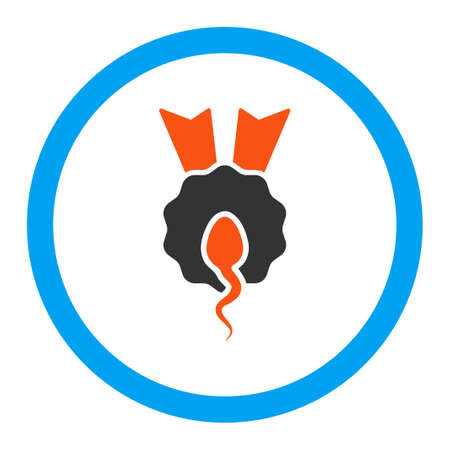 spermatozoon: Sperm Winner vector icon. Style is flat rounded symbol, bright colors, rounded angles, white background.