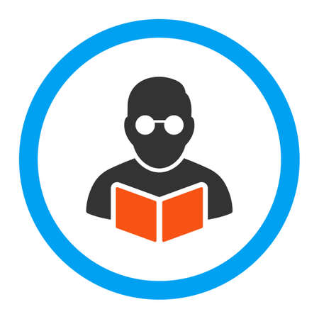 student reading: Student Reading Book vector icon. Style is flat rounded symbol, bright colors, rounded angles, white background.