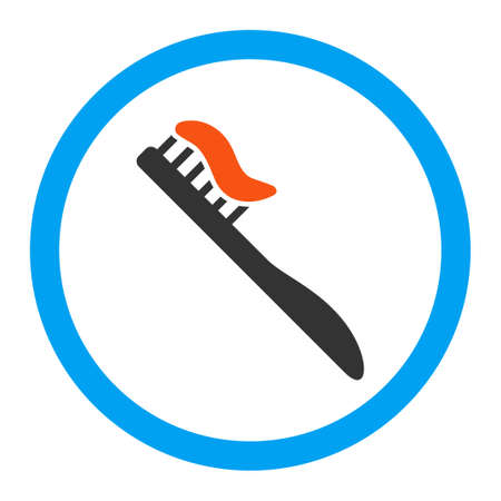 tooth brush: Tooth Brush vector icon. Style is flat rounded symbol, bright colors, rounded angles, white background.