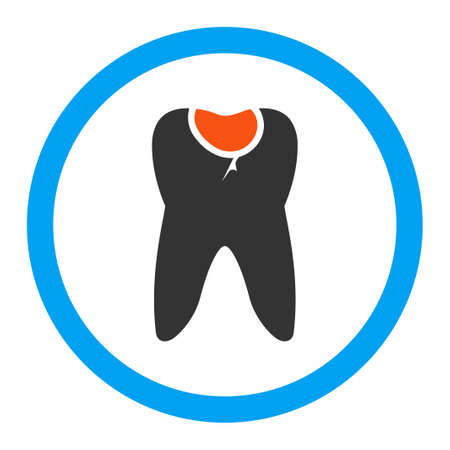 carious: Tooth Caries vector icon. Style is flat rounded symbol, bright colors, rounded angles, white background. Illustration