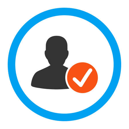 valid: Valid Patient vector icon. Style is flat rounded symbol, bright colors, rounded angles, white background. Illustration