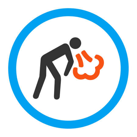 vomiting: Vomiting vector icon. Style is flat rounded symbol, bright colors, rounded angles, white background.