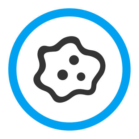 ameba: Amoeba glyph icon. Style is flat rounded symbol, bright colors, rounded angles, white background.