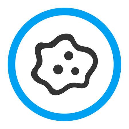 ameba: Icono de glifo de la ameba. El estilo es el símbolo plana redondeada, colores brillantes, ángulos redondeados, fondo blanco. Foto de archivo