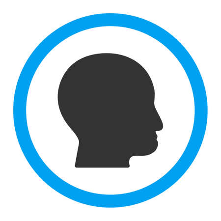 bald head: Bald Head glyph icon. Style is flat rounded symbol, bright colors, rounded angles, white background.