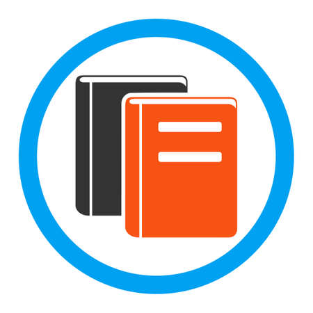 magazine stack: Books glyph icon. Style is flat rounded symbol, bright colors, rounded angles, white background.