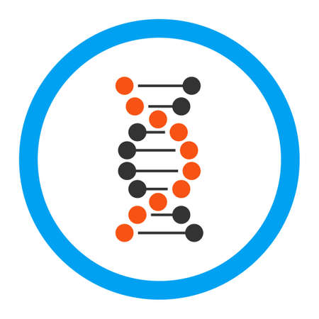 to encode: DNA Spiral glyph icon. Style is flat rounded symbol, bright colors, rounded angles, white background.