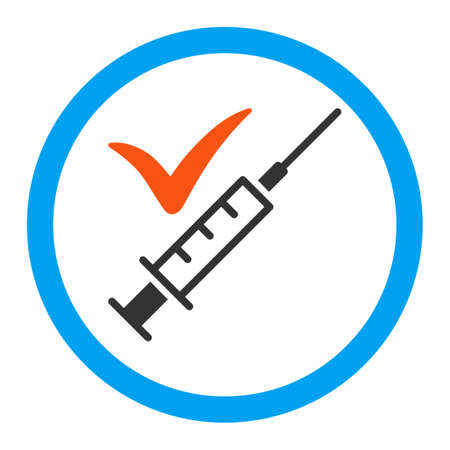 Done Vaccination glyph icon. Style is flat rounded symbol, bright colors, rounded angles, white background.