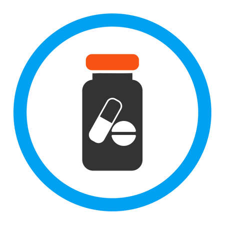 phial: Drugs Phial glyph icon. Style is flat rounded symbol, bright colors, rounded angles, white background.