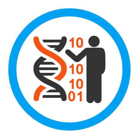 genom: DNA Code Report glyph icon. Style is flat rounded symbol, bright colors, rounded angles, white background.