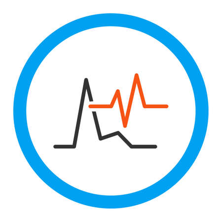cardiograph: Ecg glyph icon. Style is flat rounded symbol, bright colors, rounded angles, white background. Stock Photo