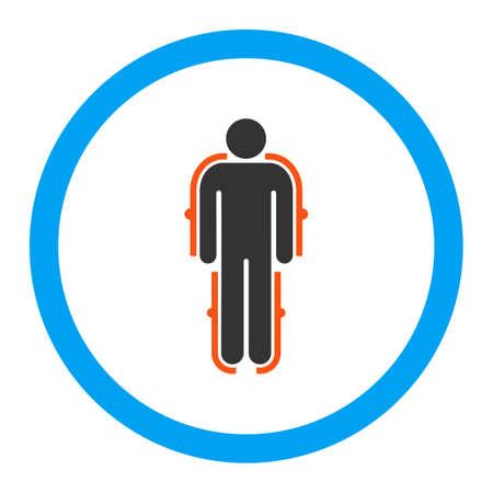exoskeleton: Exoskeleton glyph icon. Style is flat rounded symbol, bright colors, rounded angles, white background.
