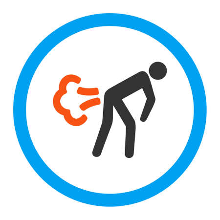 fart: Fart glyph icon. Style is flat rounded symbol, bright colors, rounded angles, white background.