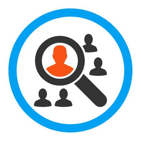 pacjent: Przeglądaj pacjenci ikonę glifów. Styl jest płaski okrągły symbol, jasne kolory, zaokrąglone kąty, białe tło.