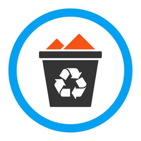 papelera de reciclaje: Completo icono glifo Papelera de reciclaje. El estilo es el s�mbolo plana redondeada, colores brillantes, �ngulos redondeados, fondo blanco.