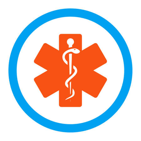 star of life: Life Star glyph icon. Style is flat rounded symbol, bright colors, rounded angles, white background.