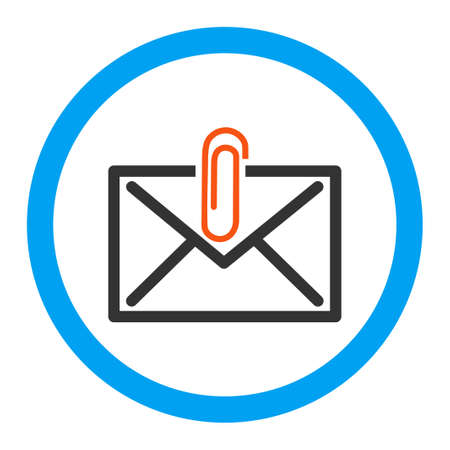 Mail Attachment glyph icon. Style is flat rounded symbol, bright colors, rounded angles, white background. Archivio Fotografico
