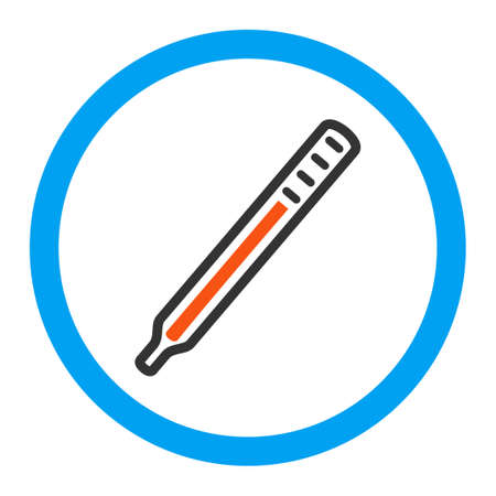 parameter: Medical Thermometer glyph icon. Style is flat rounded symbol, bright colors, rounded angles, white background.